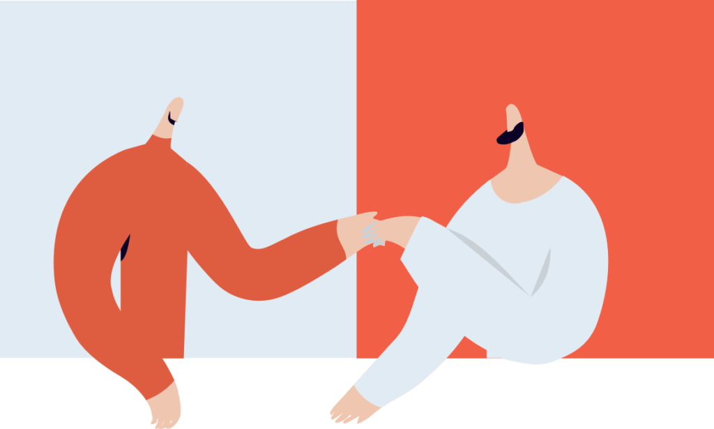 Vector illustration of two men shaking hands