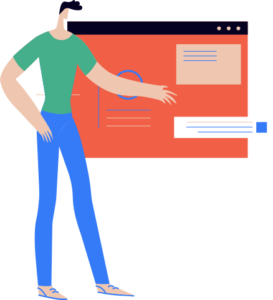 Vector illustration of man in front of webpage