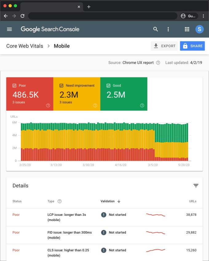 Google Search Console Web Vitals Report